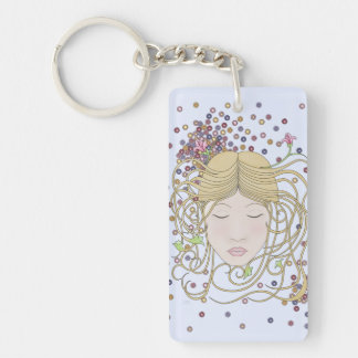 Whimsical, Romantic Art Nouveau Woman Portrait Keychain