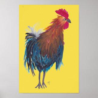 Whimsical Rooster Folk Art Poster