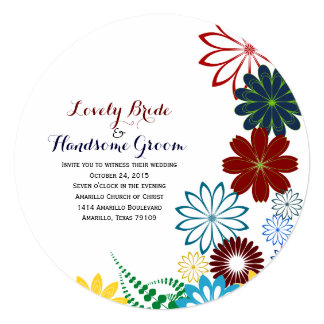 Whimsical Round Bright Floral Wedding Invitation