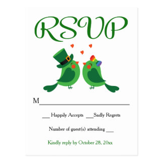 Whimsical RSVP Lovebird Green Wedding Party Card