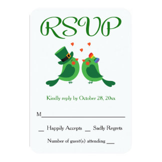Whimsical RSVP Lovebirds Green & White Wedding Card