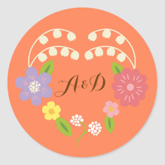 Whimsical Rustic Flower Heart Coral Wedding Favor Classic Round Sticker