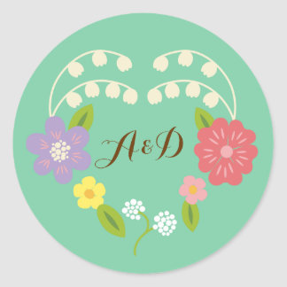 Whimsical Rustic Flower Heart (Mint) Wedding Favor Classic Round Sticker