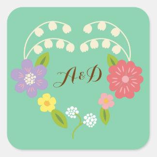 Whimsical Rustic Flower Heart (Mint) Wedding Favor Square Sticker