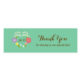 Whimsical Rustic Flowers Mint Favor Tag Business Card Template