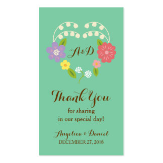 Whimsical Rustic Flowers (Mint) Favor Tag Business Card