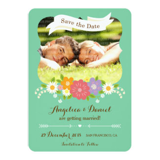 "Whimsical Rustic Flowers Mint Save the Date Photo 4.5"" X 6.25"" Invitation Card"