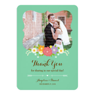 "Whimsical Rustic Flowers (Mint) Thank You Photo 4.5"" X 6.25"" Invitation Card"