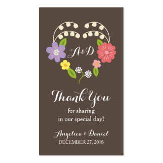 Whimsical Rustic Flowers Thank You Favor Tag Business Card