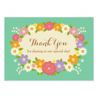 Whimsical Rustic Flowers Thank You Mint Tag Business Cards