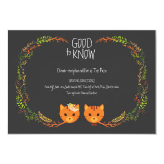 Whimsical Rustic Forest Cats Wedding Insert Card