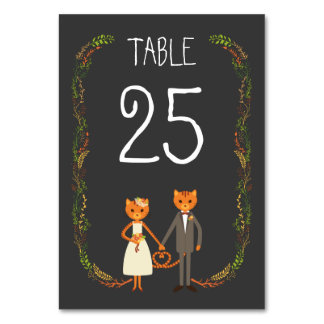 Whimsical Rustic Forest Cats Wedding Table Card