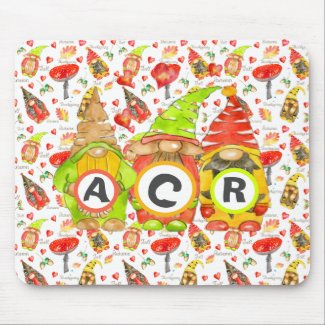 Whimsical Rustic Gnomes Watercolor Mousepad