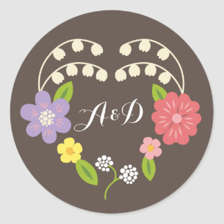 Whimsical Rustic Pastel Flower Heart Wedding Favor Classic Round Sticker