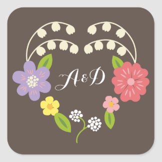 Whimsical Rustic Pastel Flower Heart Wedding Favor Square Sticker