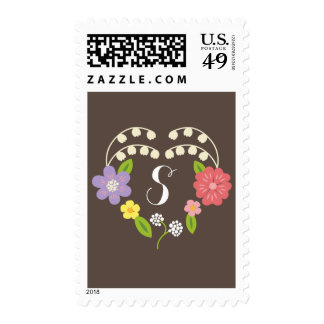 Whimsical Rustic Romantic Flower Heart Monogram Postage Stamp