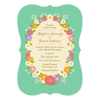 Whimsical Rustic Romantic Flower Wreath (Mint) 5x7 Paper Invitation Card