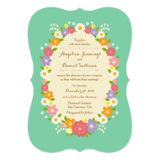 Whimsical Rustic Romantic Flower Wreath (Mint) Card
