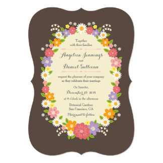 Whimsical Rustic Romantic Pastel Flower Wreath Announcements