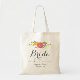 Whimsical Rustic Romantic Pastel Flowers Bride Tote Bag