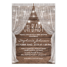 Whimsical Rustic String Lights Baby Shower Invite