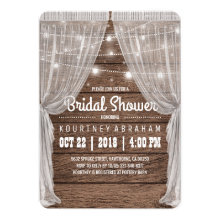 Whimsical Rustic String Lights Bridal Shower Invitations