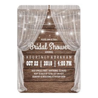 Whimsical Rustic String Lights Bridal Shower Card