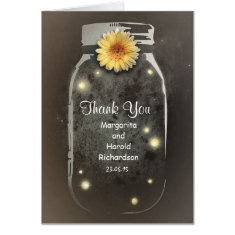 Whimsical Rustic Vintage Mason Jar Thank You Greeting Cards