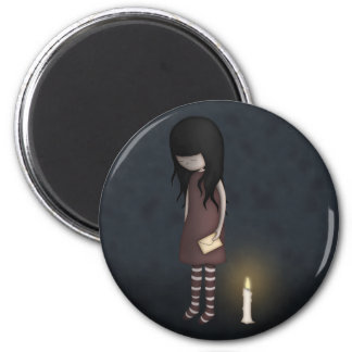 Whimsical Sad, Melancholy Young Girl with a Candle 2 Inch Round Magnet