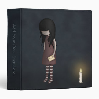 Whimsical Sad Melancholy Young Girl with a Candle Binder