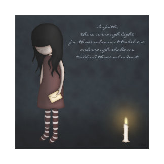 Whimsical Sad, Melancholy Young Girl with a Candle Canvas Print