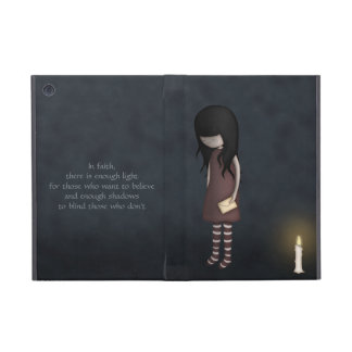 Whimsical Sad, Melancholy Young Girl with a Candle Cases For iPad Mini