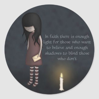 Whimsical Sad, Melancholy Young Girl with a Candle Classic Round Sticker