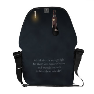 Whimsical Sad, Melancholy Young Girl with a Candle Messenger Bags