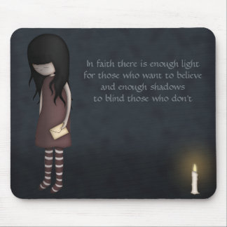 Whimsical Sad, Melancholy Young Girl with a Candle Mouse Pad