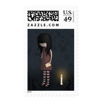 Whimsical Sad, Melancholy Young Girl with a Candle Postage Stamp