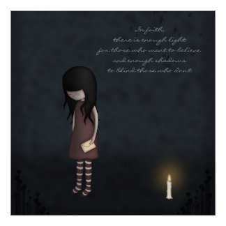 Whimsical Sad, Melancholy Young Girl with a Candle Poster