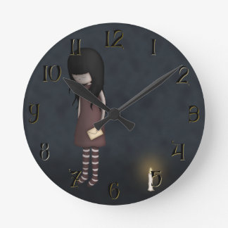 Whimsical Sad, Melancholy Young Girl with a Candle Round Clock