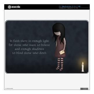"""Whimsical Sad, Melancholy Young Girl with a Candle 11"""" MacBook Air Decal"""