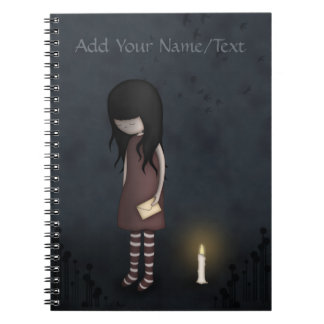 Whimsical Sad, Melancholy Young Girl with a Candle Spiral Notebook
