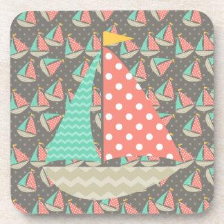 Whimsical Sailboats Drink Coaster
