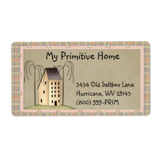 Whimsical Saltbox House Shipping Label
