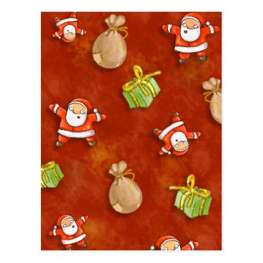 whimsical santa and presents pattern postcard
