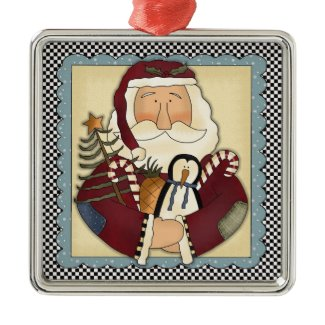 Whimsical Santa Folk Art Christmas Keepsake ornament