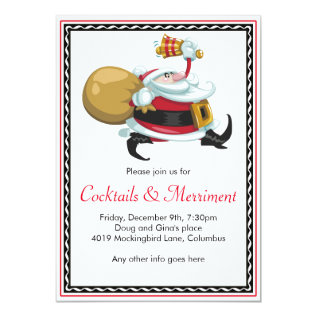 Whimsical Santa Holiday Party Card at Zazzle
