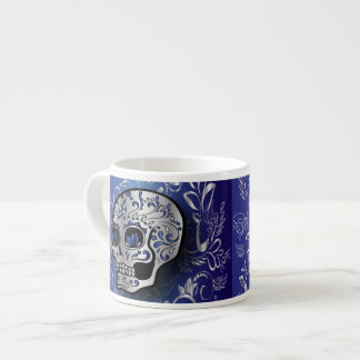 Whimsical sapphire blue and silver skull 6 oz ceramic espresso cup