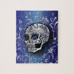 Whimsical sapphire blue and silver skull puzzles