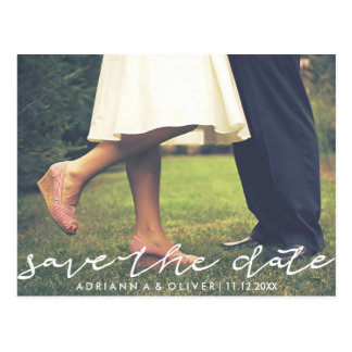 Whimsical Save The Date Typography Photo Postcard