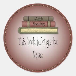 Whimsical School Book Design Classic Round Sticker
