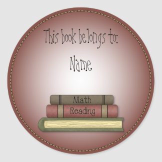 Whimsical School Book Design Classic Round Sticker